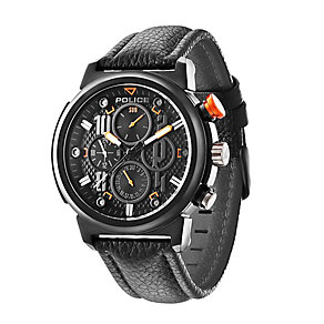 Police Men Black Chronograph Leather Strap Watch - Product number 2253135