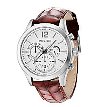 Police Men's Stainless Steel Brown Leather Strap Watch - Product number 2253178