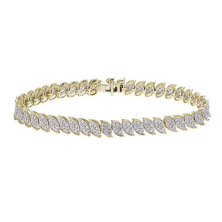 9ct yellow gold 2 carat diamond bracelet with secret diamond - Product number 2253216