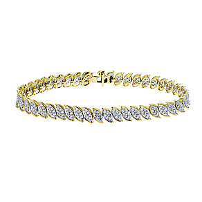 9ct yellow gold 3 carat diamond bracelet with secret diamond - Product number 2253232
