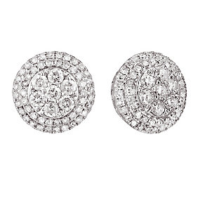 18ct white gold 1 carat earrings with secret diamond - Product number 2253259
