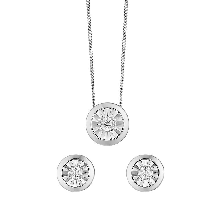 9ct white gold 15pt diamond earrings and pendant gift set - Product number 2253267