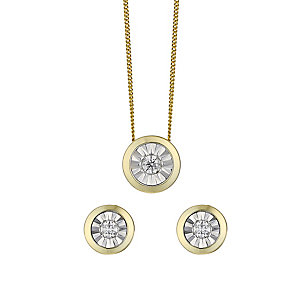 9ct yellow gold 15pt diamond earrings and pendant gift set - Product number 2253275
