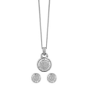 9ct white gold 67pt diamond earrings & pendant gift set - Product number 2253283