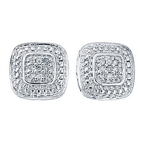 9ct white gold diamond earrings with secret diamond - Product number 2253291