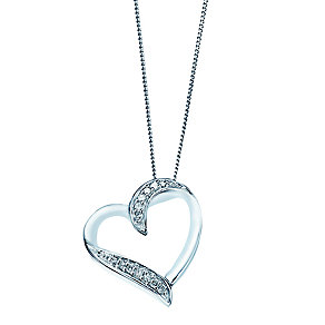 9ct white gold diamond heart pendant with secret diamond - Product number 2253313