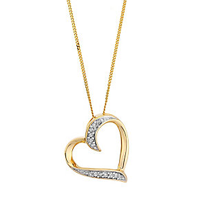 9ct yellow gold diamond heart pendant with hidden diamond - Product number 2253321