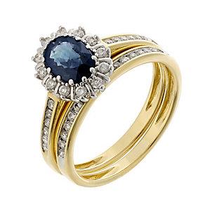 18ct two colour gold 1/3 carat diamond & sapphire bridal set - Product number 2255464