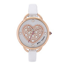 Betsey Johnson Ladies' Stone Set Heart White Strap Watch - Product number 2255731