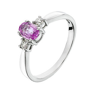 9ct white gold 10 point diamond and pink sapphire ring - Product number 2255774