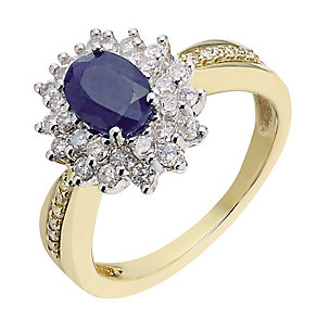 18ct gold & white gold 55 point diamond & sapphire ring - Product number 2255928