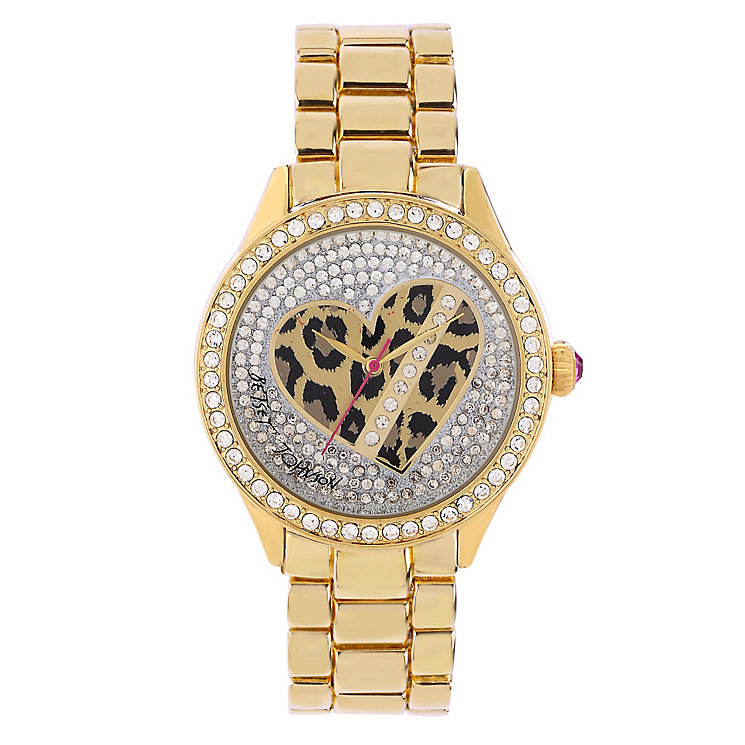 Betsey Johnson Ladies' Stone Set & Leopard Print Watch - Product number 2256320