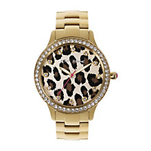 Betsey Johnson Ladies' Leopard Print Yellow Gold Tone Watch - Product number 2256517