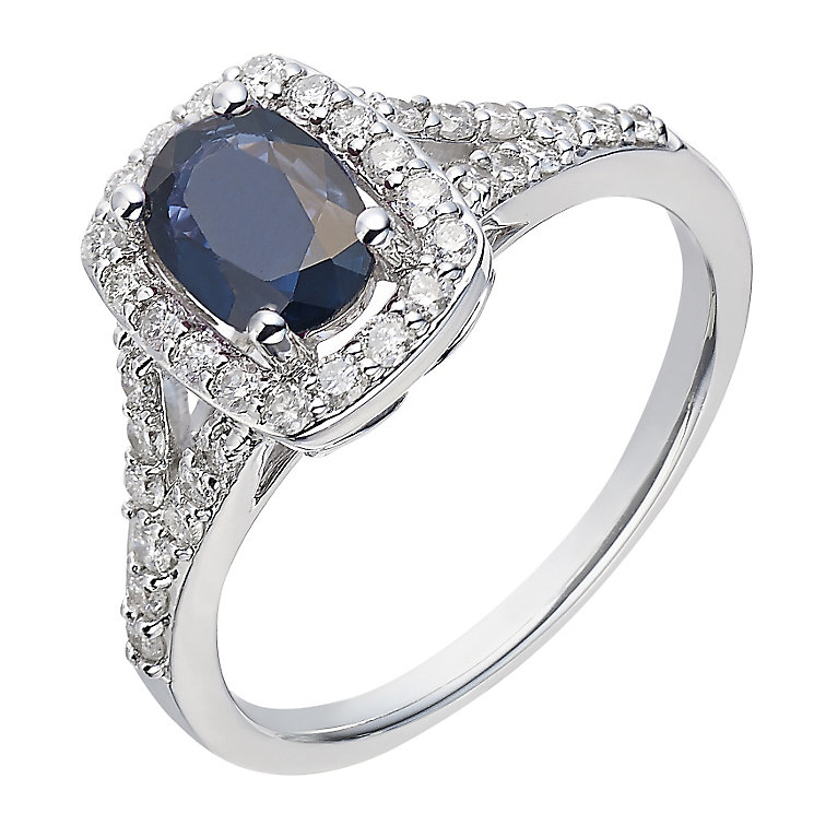 18ct white gold 40 point diamond & sapphire ring - Product number 2256738