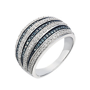 18ct white gold diamond and blue stone seven row ring - Product number 2256967