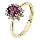 9ct yellow gold diamond and created alexandrite ring - Product number 2257114