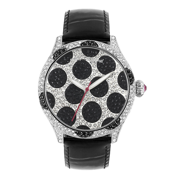 Betsey Johnson Ladies' Polka Dot Black Leather Strap Watch - Product number 2257262
