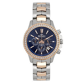 Rotary Ladies' Two Tone Rose Gold Plated Chronograph Watch - Product number 2257270