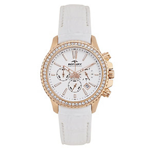 Rotary Ladies Rose Gold-Plated White Chronograph Watch - Product number 2257297