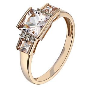 9ct rose gold diamond & morganite ring - Product number 2257459