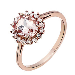 9ct rose gold morganite & diamond ring - Product number 2257866