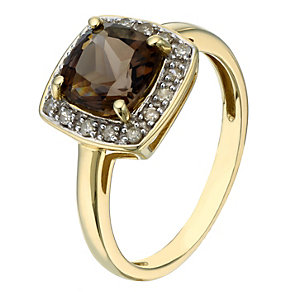 9ct yellow gold smokey quartz & diamond ring - Product number 2258005