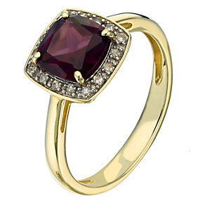 9ct yellow gold diamond and brazillian garnet ring - Product number 2258161