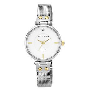 Anne Klein Ladies' Diamond Set Two Colour Mesh Strap Watch - Product number 2258471