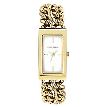 Anne Klein Ladies' Rectangular Yellow Gold Tone Chain Watch - Product number 2258552