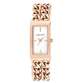 Anne Klein Ladies' Rectangular Rose Gold Tone Chain Watch - Product number 2258560
