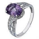9ct white gold diamond & amethyst ring - Product number 2259052