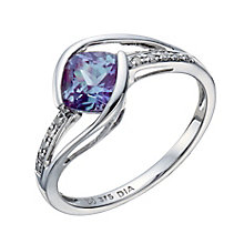 9ct white gold created alexandrite & diamond ring - Product number 2259397