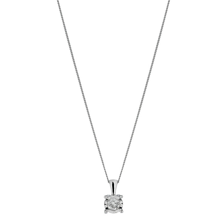 9ct white gold 40 point diamond illusion set pendant - Product number 2259419
