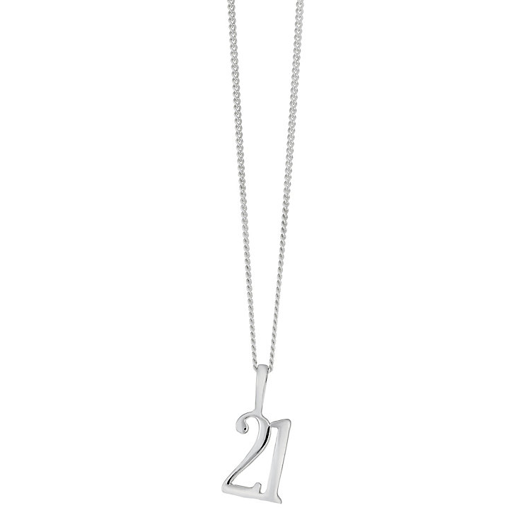 Sterling silver 21st pendant - Product number 2259478