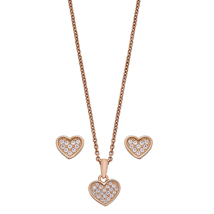 Rose gold-plated heart earrings & pendant set - Product number 2259516