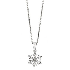 Sterling silver cubic zirconia snowflake pendant - Product number 2259532