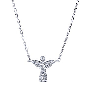 Sterling silver stone set angel pendant - Product number 2259540