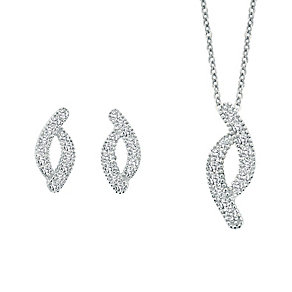 Silver & cubic zirconia earring and pendant set - Product number 2259575