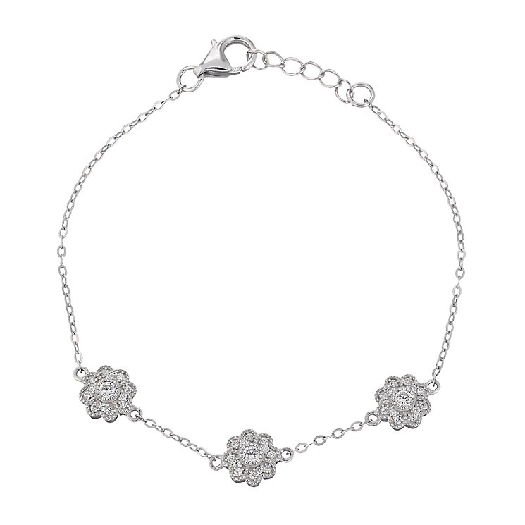 Sterling silver three flower cubic zirconia bracelet - Product number 2259583