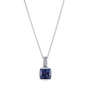 9ct white gold diamond and created alexandrite pendant - Product number 2260336