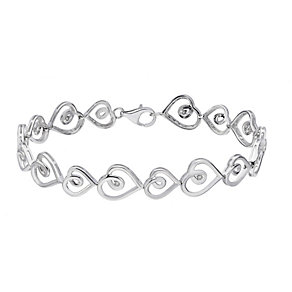 Sterling silver 10 point diamond heart bracelet - Product number 2260875