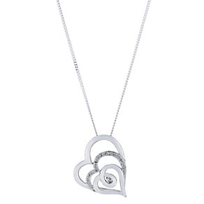 Sterling silver 10 point diamond triple heart pendant - Product number 2260883