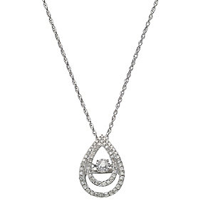 Diamonds in Rhythm silver 40 point diamond halo drop pendant - Product number 2260964