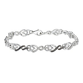 Vivid silver white & treated black diamonds bracelet - Product number 2261189