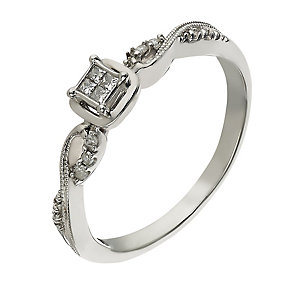 Sterling silver 10 point diamond ring - Product number 2261499