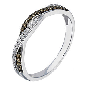Sterling silver white & natural brown diamond ring - Product number 2261782