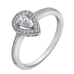 Sterling silver cubic zirconia pave milgrain pear halo ring - Product number 2261936