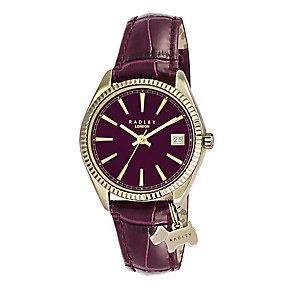 Radley Ladies' Yellow Gold Plated Berry Leather Strap Watch - Product number 2262371