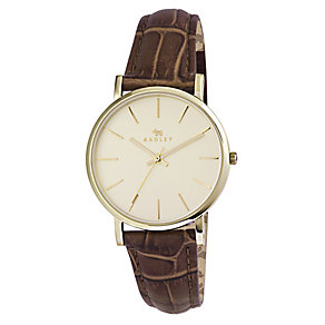 Radley Ladies' Yellow Gold Plated Brown Leather Strap Watch - Product number 2262401
