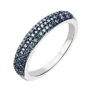 Sterling silver 20 point treated blue diamond ring - Product number 2262584